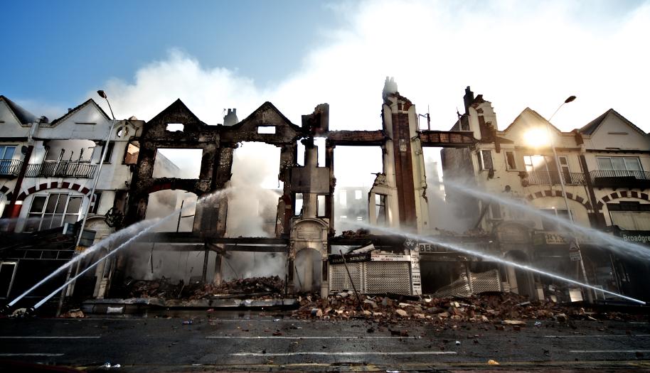 Burnt out buildings