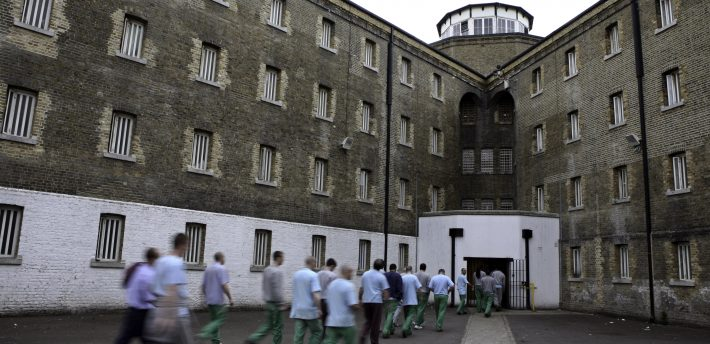 Prisoners return from their jobs to their wings for lunch at Wandsworth prison..HMP Wandsworth in South West London was built in 1851 and is one of the largest prisons in Western Europe. It has a capacity of 1456 prisoners.