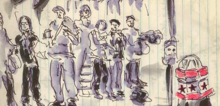 Sketch of journalists ouitside the hacking trial by Isobel Williams. www.isobelwilliams.blogspot.com