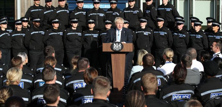 Boris Johnson was criticised for using trainee police officers as a backdrop to a political speech