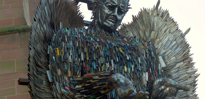 Knife Angel by Terry Kearney (from Flickr). Sculpture by the artist Alfie Bradley