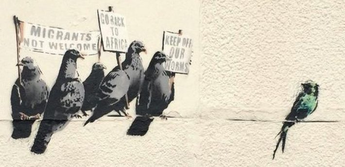Banksy mural in  Clacton-on-Sea, destroyed because it was 'racist'