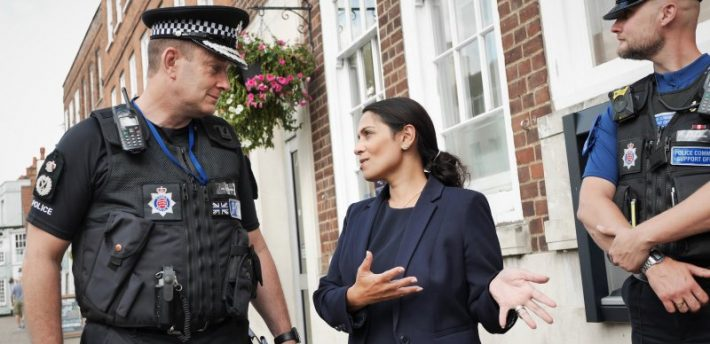 Priti Patel with officers from Braintree Community Policing Team (Pic: Essex Police)