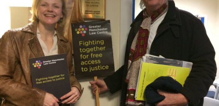 Maxine Peake and Michael Mansfield QC at the opening of Greater Manchester Law Centre