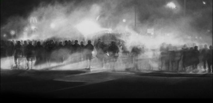 Robert Longo, Untitled (Ferguson) Diptych, 2014 (www.artbaselmiamibeach-online.com)