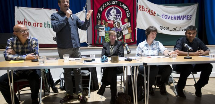 Haldane Labour Party Fringe Meeting, Undercover political policing and state surveillance with Richard Burgon MP, Shadow Secretary of State for Justice, Helen Steel (Spies out of Lives), Dave Smith (blacklisted trade union activist, Blacklist Support Group), Mark Thomas (comedian), lawyer Shamic Dutta and chair Liz Davies (Haldane Society). Brighton 2017