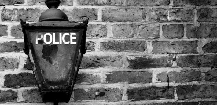 police lantern B&W