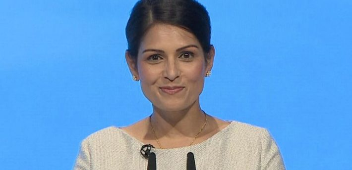 Priti Patel speaking yesterday at the Tory Party conference (Pic: Sky News)