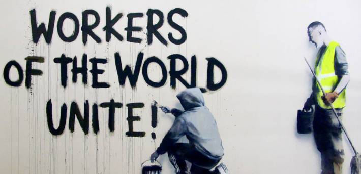 workers of the world, banksy
